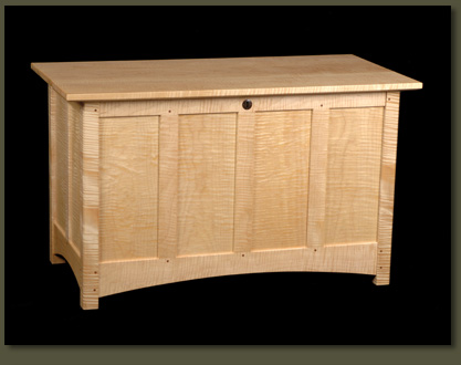Our Tiger Maple Hope Chest proudly shows its stripes, making it a wonderfully decorative Hope Chest for a wedding gift, child's room, or any bedroom