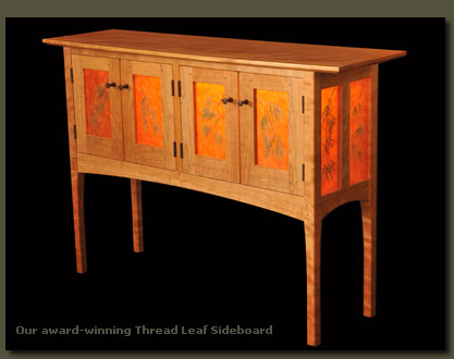 Our award-winning Thread Leaf  Sideboard is made with Reclaimed Old Growth Cypress, Cherry and Curly Cherry