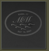 Choose from green marble or black granite for your Vermont Wedding Table tile inlay